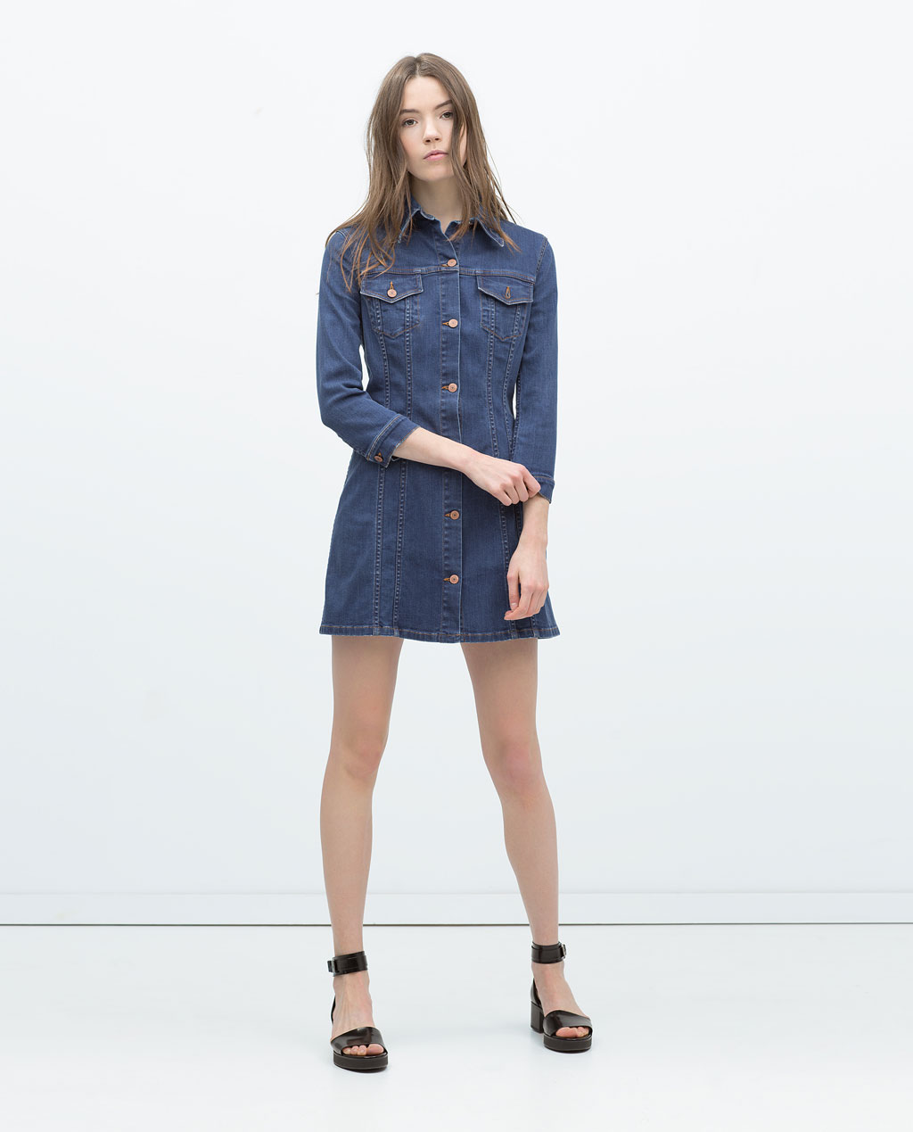 Black t shirt dress zara - Denim Dress Zara 49 95 2262043400_1_1_1
