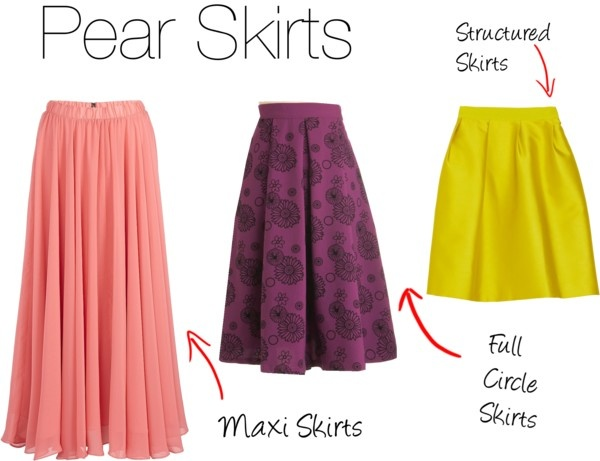 Skirts for pear body type